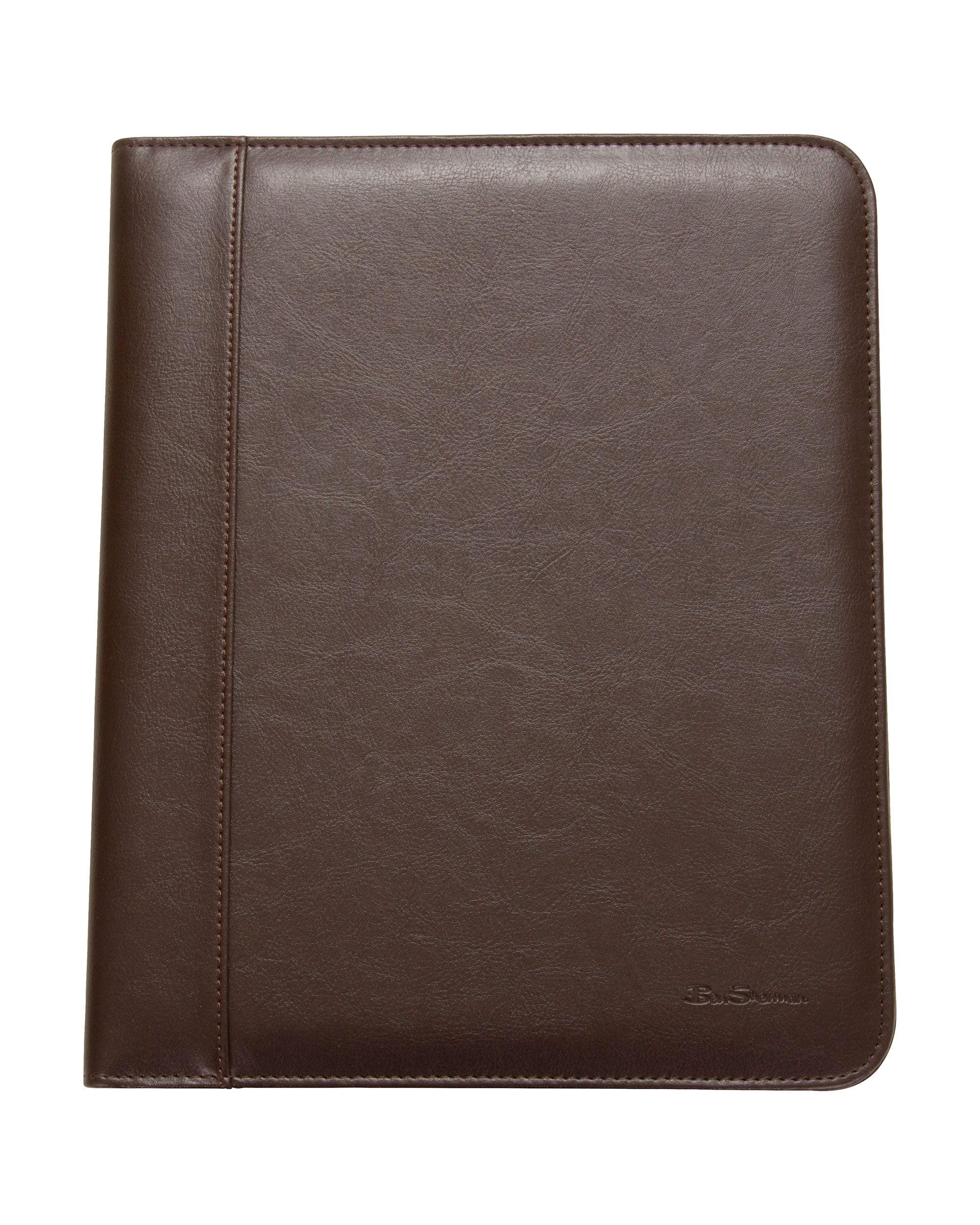 Pebbled Vegan-Leather Open-Style Classic-Size Bifold Writing Pad - Brown