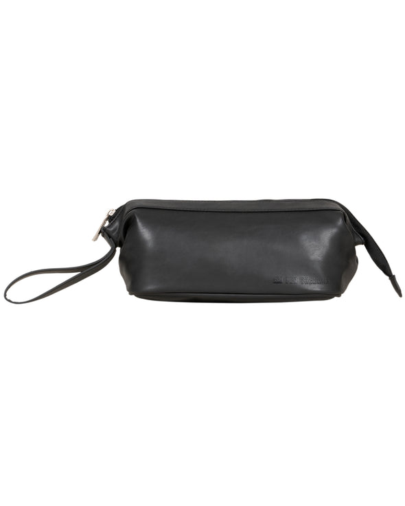 Top Zip Travel Dopp Kit With Wide Mouth Opening - Black