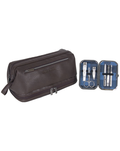 2-Piece Pebbled Faux-Leather Drop-Bottom Travel Dopp Kit & Manicure Kit Set - Brown