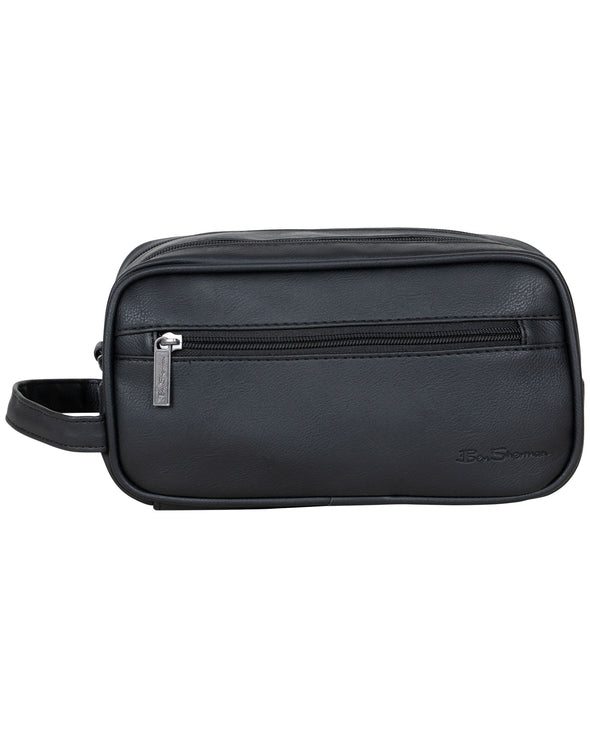 Faux-Leather Dual-Compartment Top-Zip Travel Kit - Black