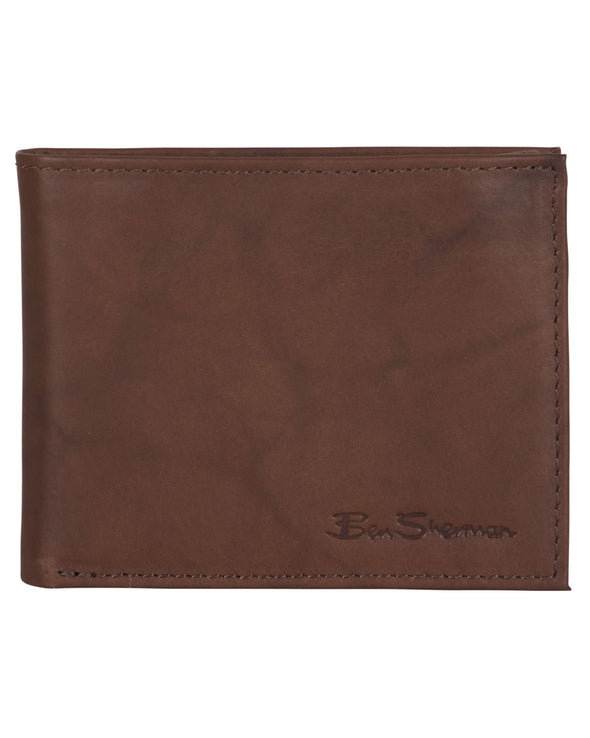 Manchester Marble Crunch Leather Passcase Wallet with Flip-up ID Window - Brown
