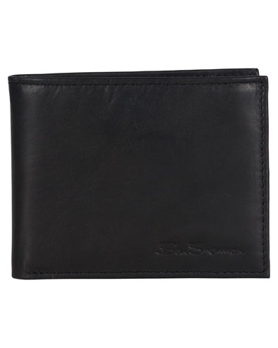 Manchester Marble Crunch Leather Passcase Wallet with Flip-up ID Window - Black