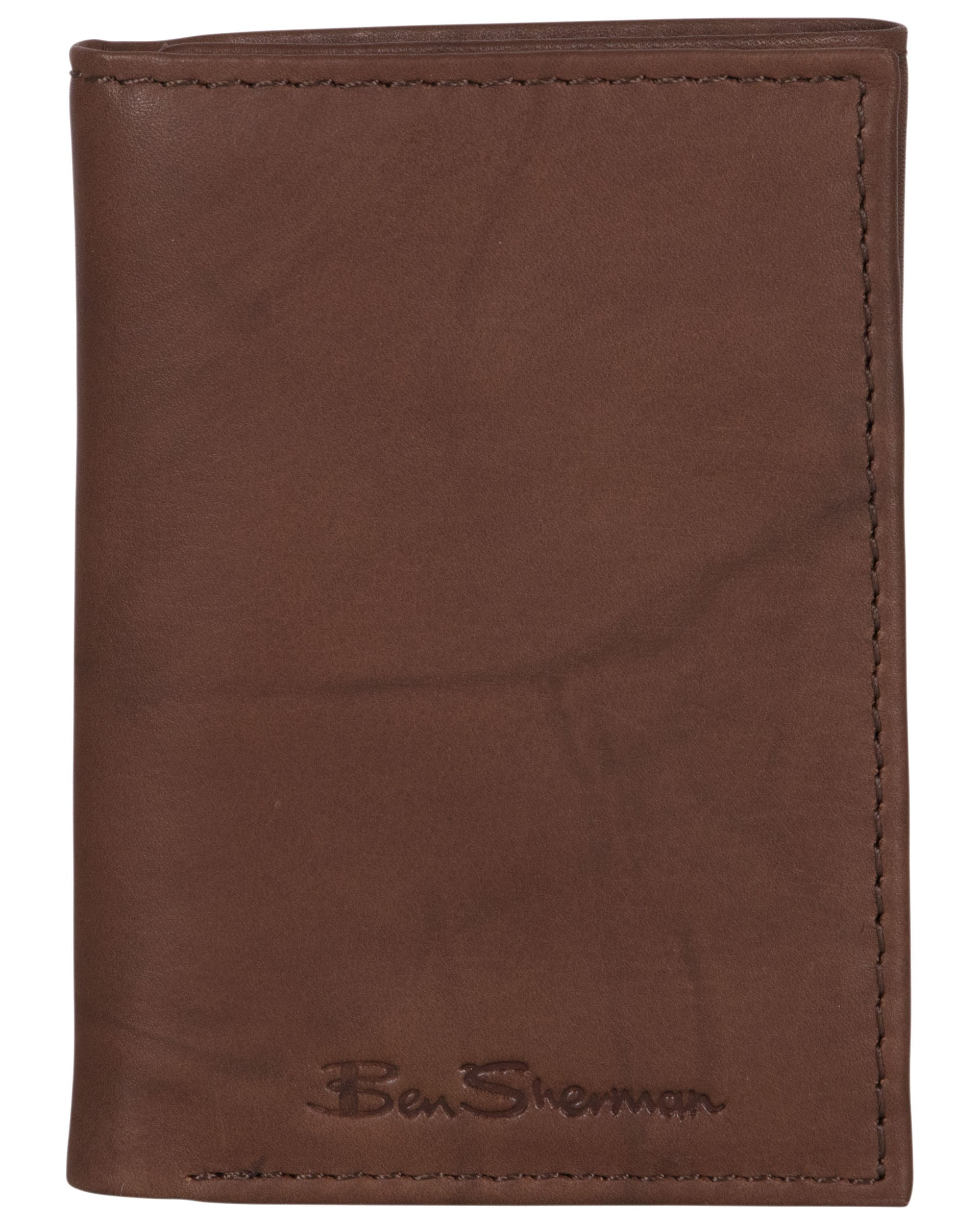 Manchester Marble Crunch Leather Trifold Wallet - Brown