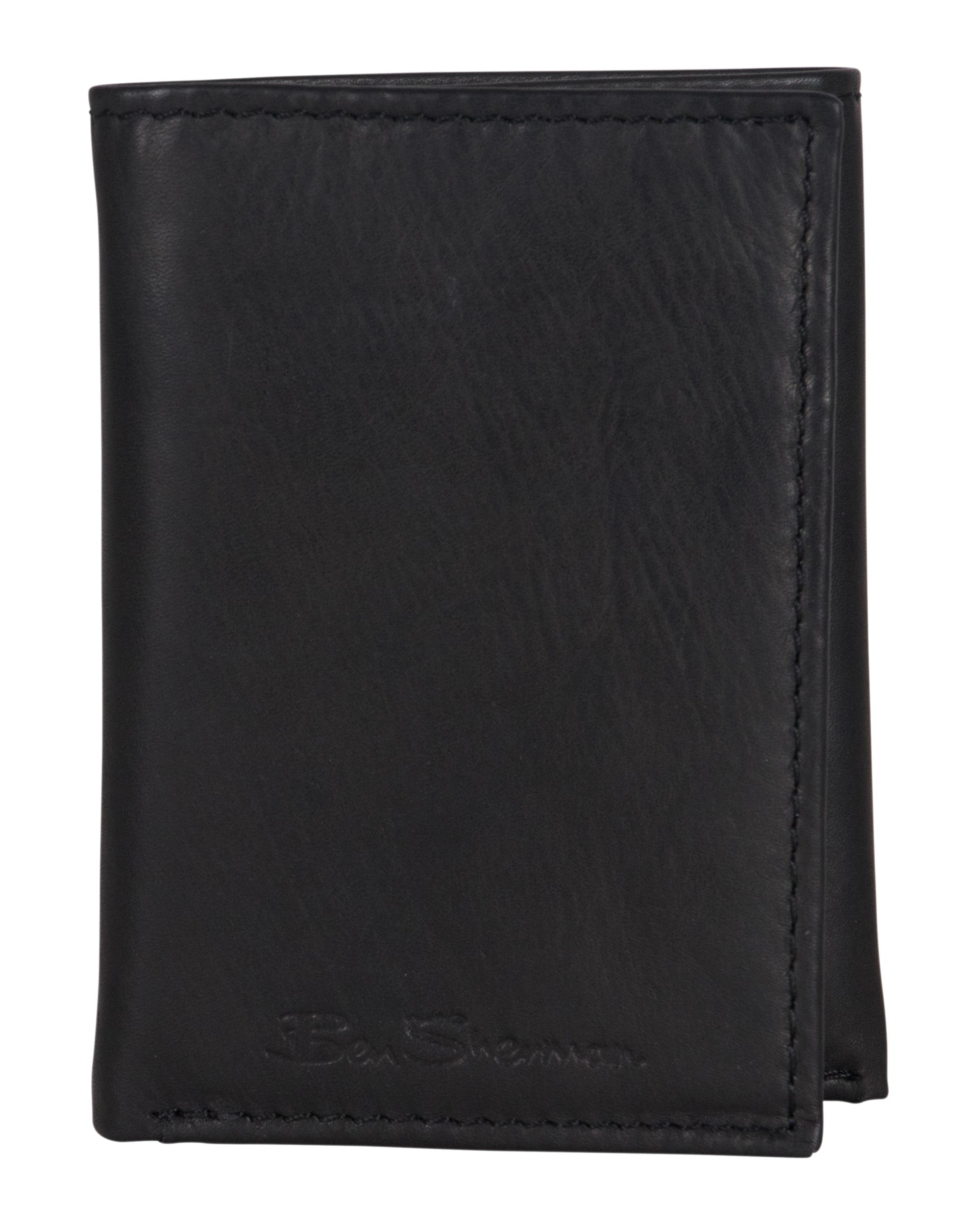 Manchester Marble Crunch Leather Trifold Wallet - Black