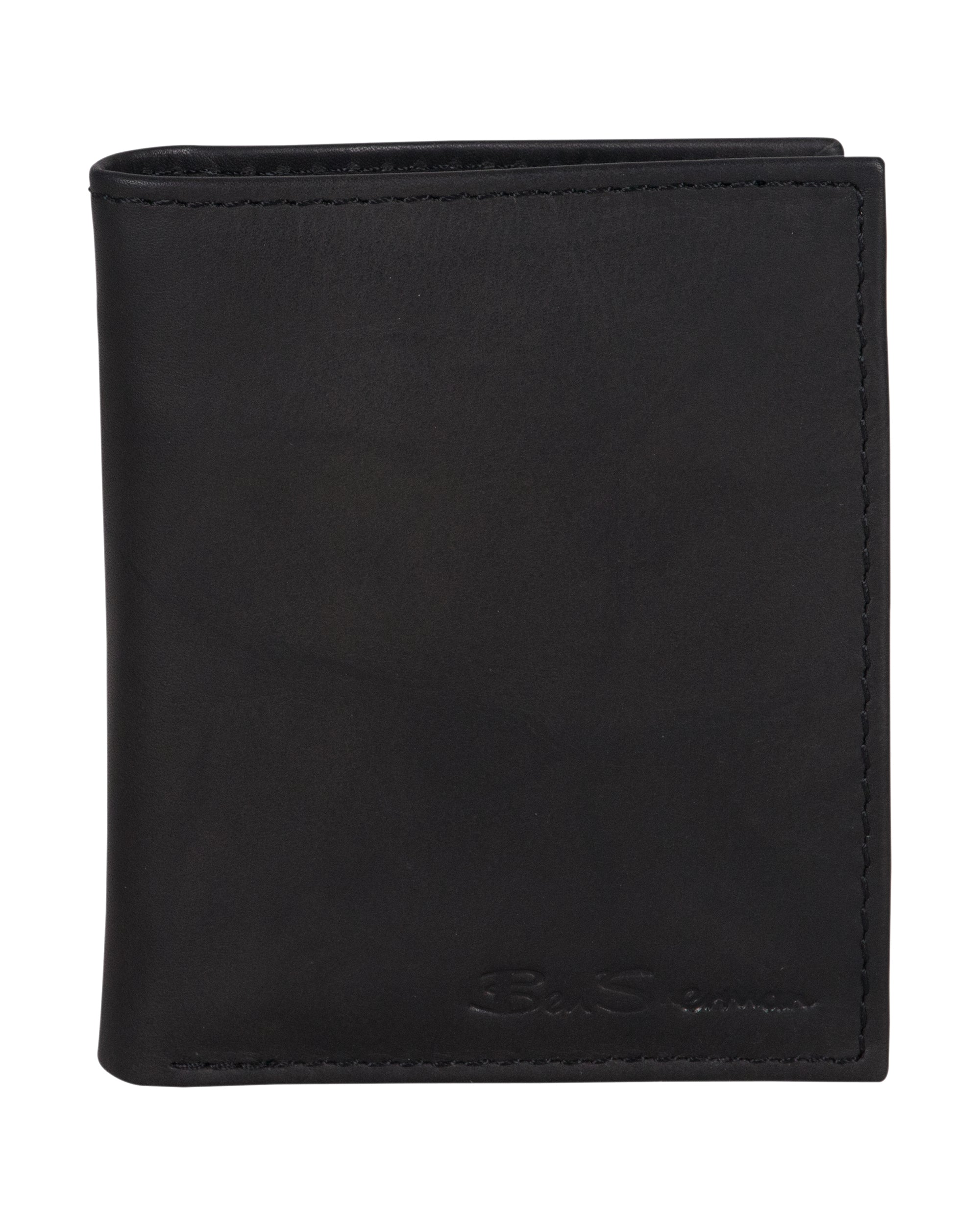 Manchester Marble Crunch Leather Bifold Wallet with Pull Tab - Black