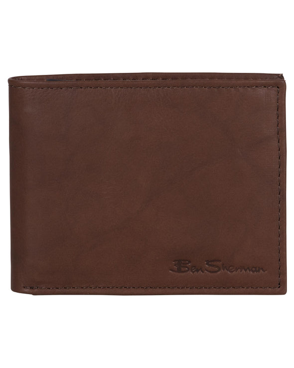 Manchester Marble Crunch Leather Bifold Wallet - Brown