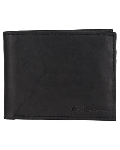 Manchester Marble Crunch Leather Bifold Wallet - Black