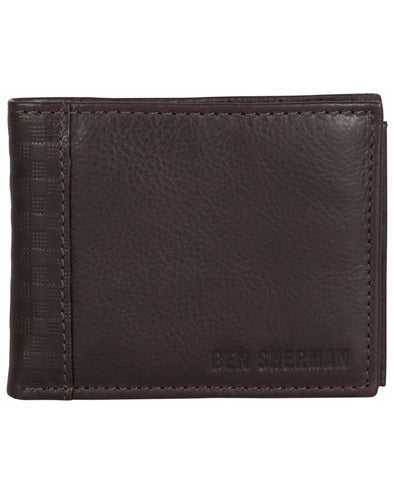 Longford Gingham Debossed Leather Bifold Wallet - Brown
