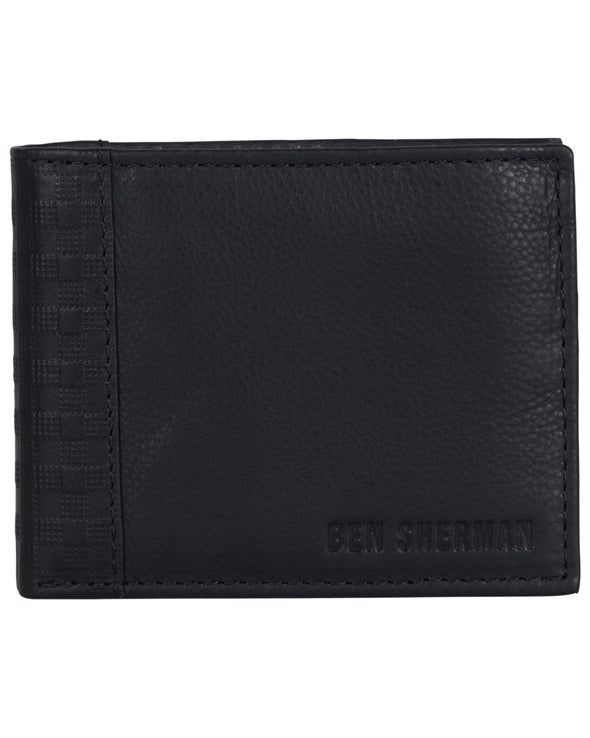 Longford Gingham Debossed Leather Bifold Wallet - Black