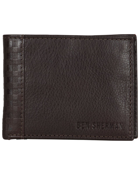 Longford Gingham Debossed Leather Five-Pocket Bifold Wallet - Brown