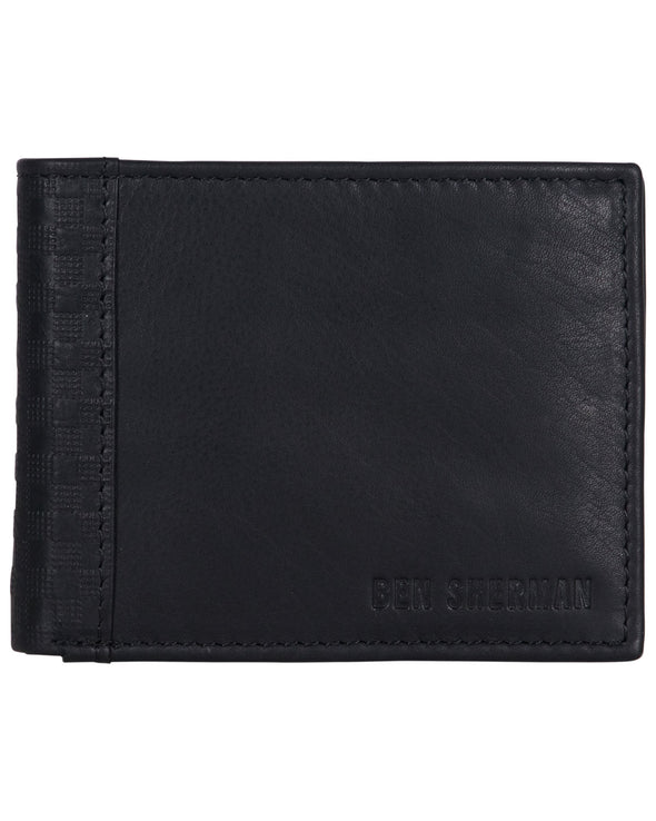 Longford Gingham Debossed Leather Five-Pocket Bifold Wallet - Black