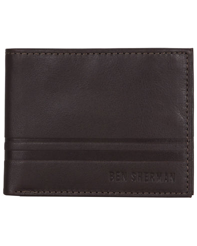 Archway Mod Stripe Leather Bifold Wallet - Brown