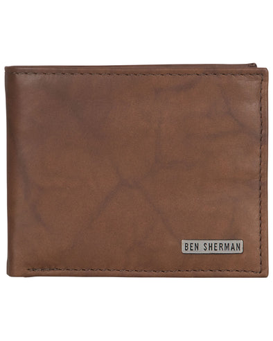 Goddington Crunch Leather Bifold Passcase Wallet - Brown