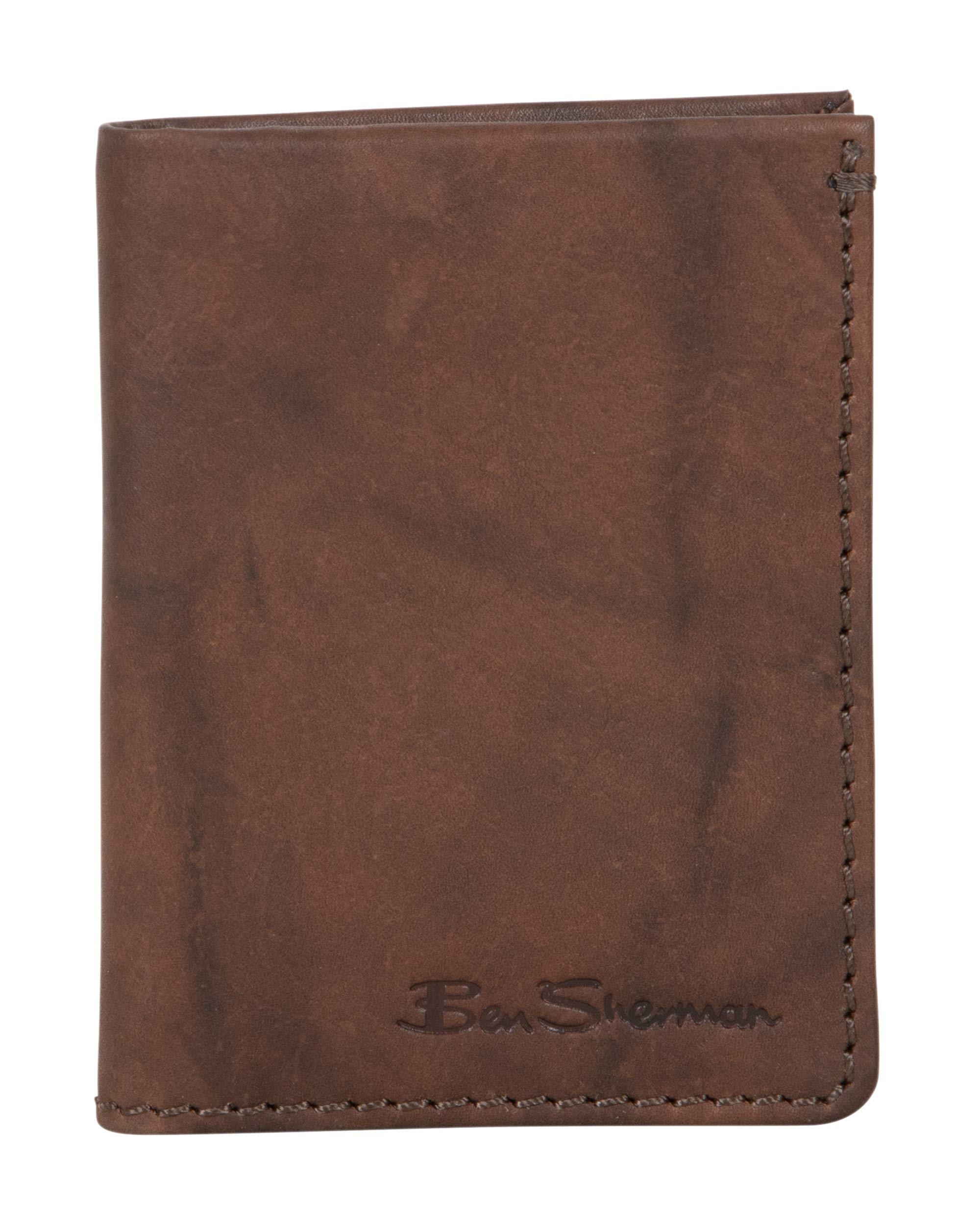 Manchester Marble Crunch Leather Slim Bifold Wallet - Brown
