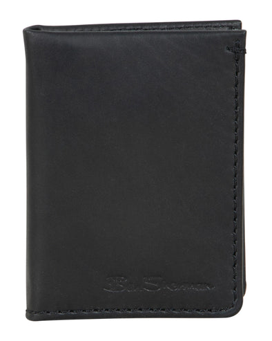 Manchester Marble Crunch Leather Slim Bifold Card Wallet - Black