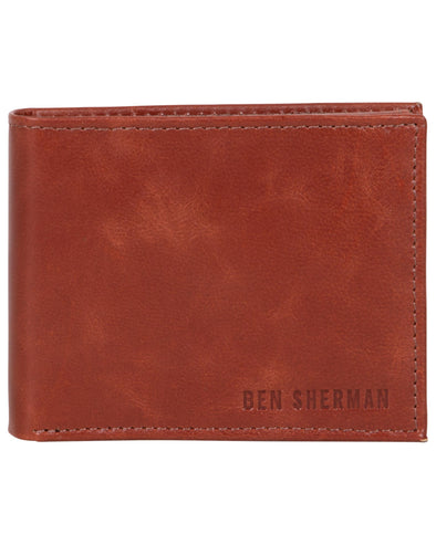 Romford Crunch Leather Billfold Wallet with Flip-Up Case - Cognac