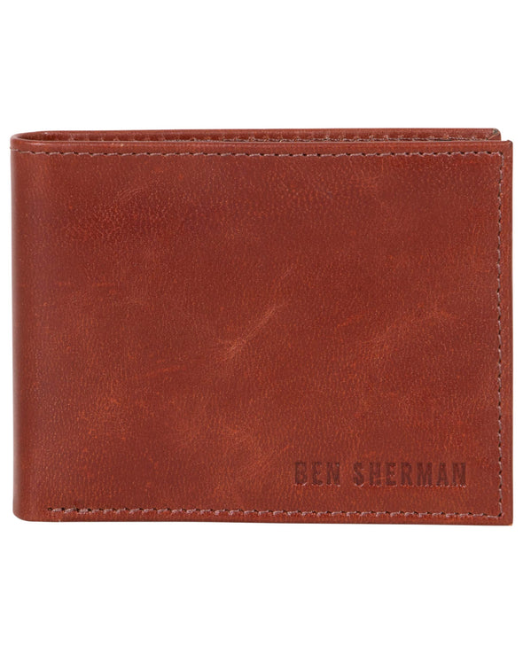 Romford Crunch Leather Billfold Wallet - Cognac
