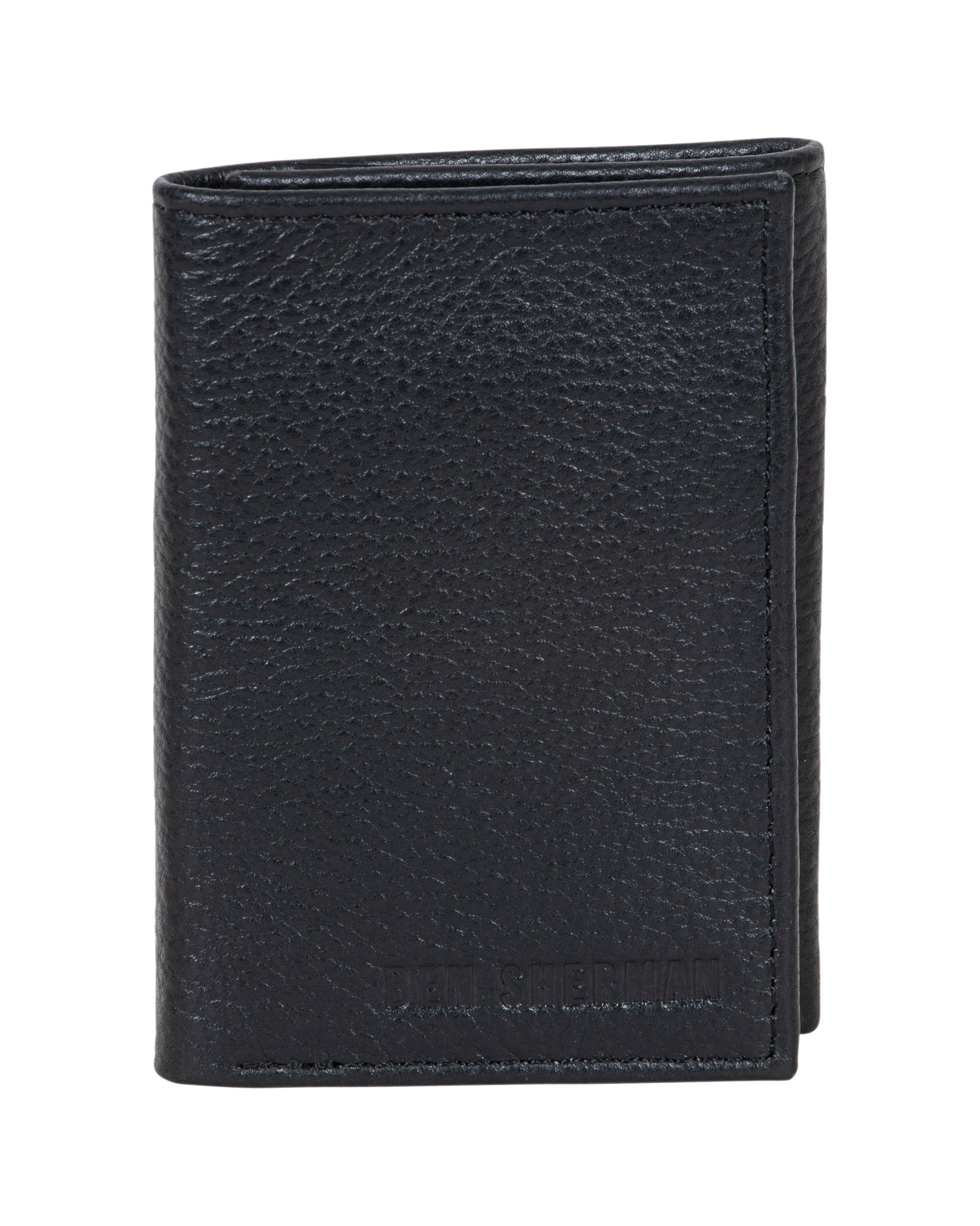 Brentford Full Grain Leather Trifold Wallet - Black
