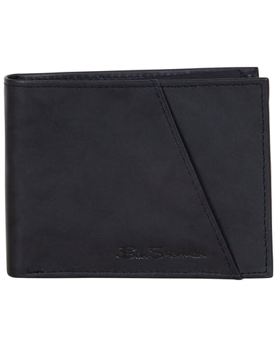 Manchester Full-Grain Cowhide Marble Crunch Leather Slim Bifold Wallet - Black