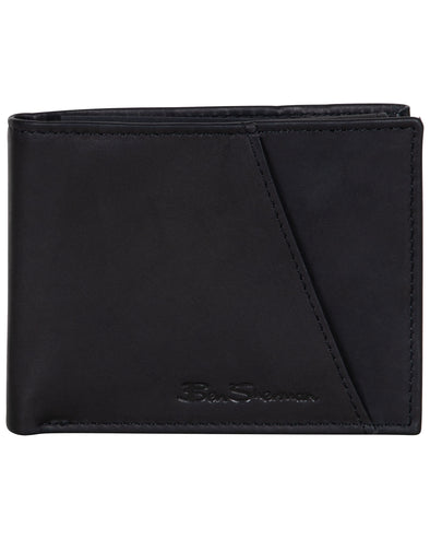 Manchester Full-Grain Cowhide Marble Crunch Leather Bifold Passcase Wallet - Black