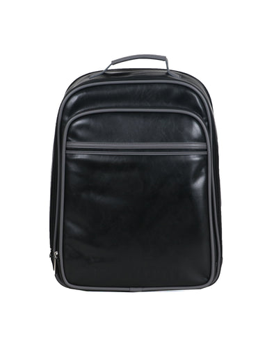 "Faux Leather Dual-Compartment 15"" Laptop Backpack - Black/Charcoal"