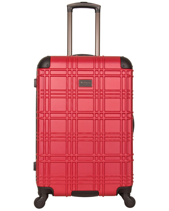 "Nottingham 24"" Embossed Hardside Checked Luggage - Red"