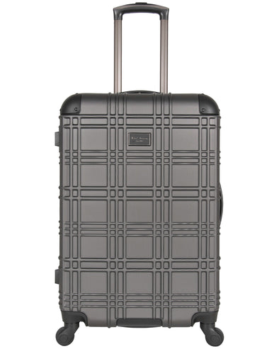 "Nottingham 24"" Embossed Hardside Checked Luggage - Charcoal"