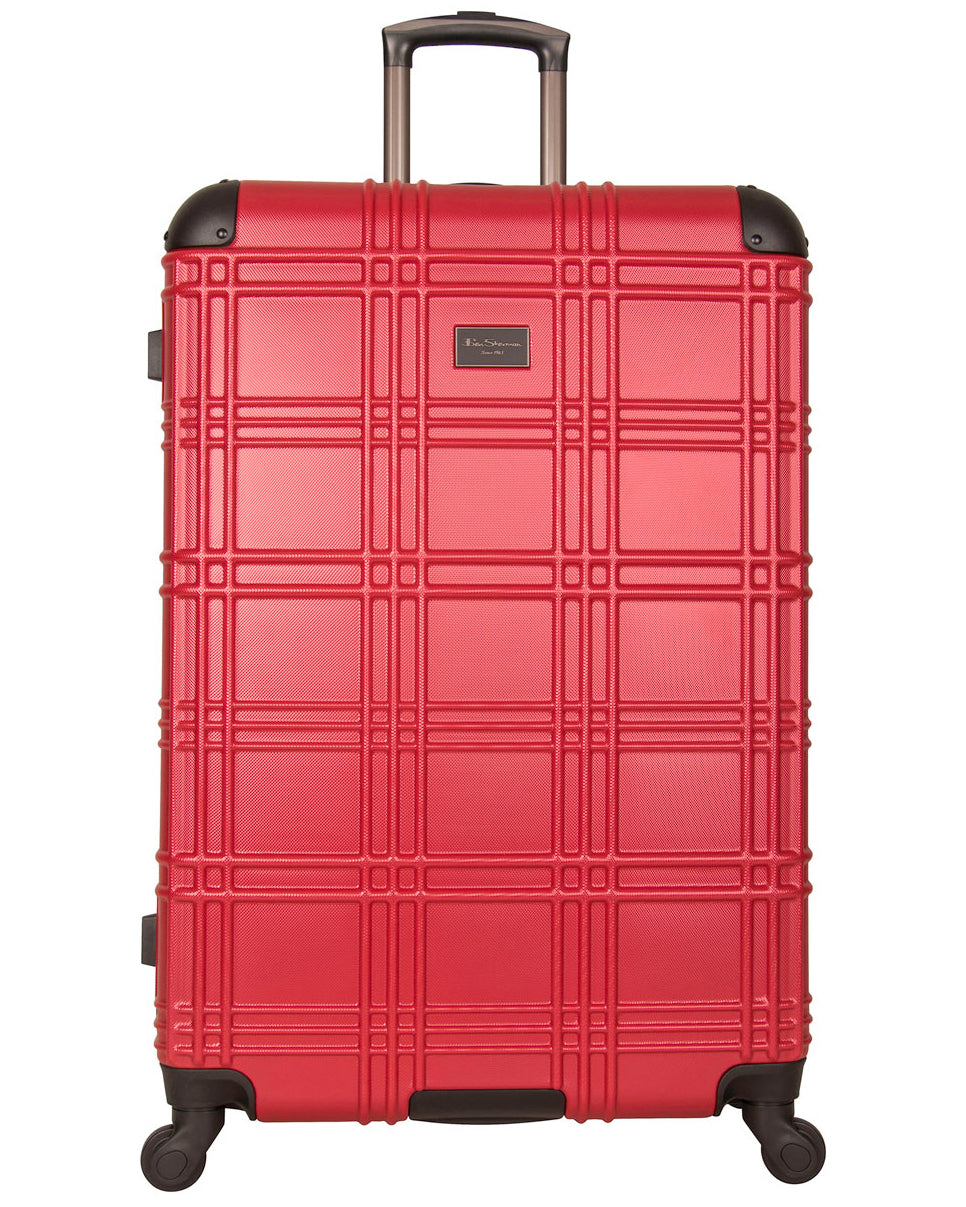 "Nottingham 28"" Embossed Hardside Checked Luggage - Red"