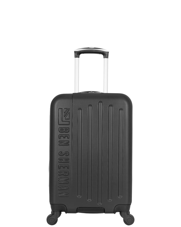 "Leicester 20"" Hardside Embossed Carry-On Luggage - Black/Charcoal"