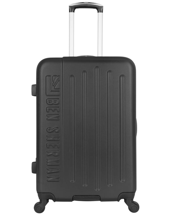 "Leicester 24"" Hardside Embossed Luggage - Black/Charcoal"