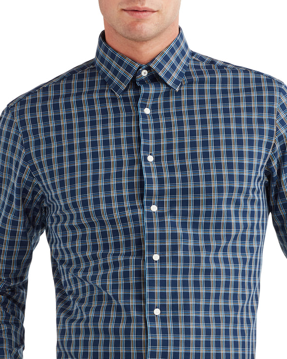 Dobby Check Dress Shirt - Navy