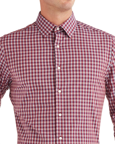 Dobby Check Slim Fit Dress Shirt - Rust