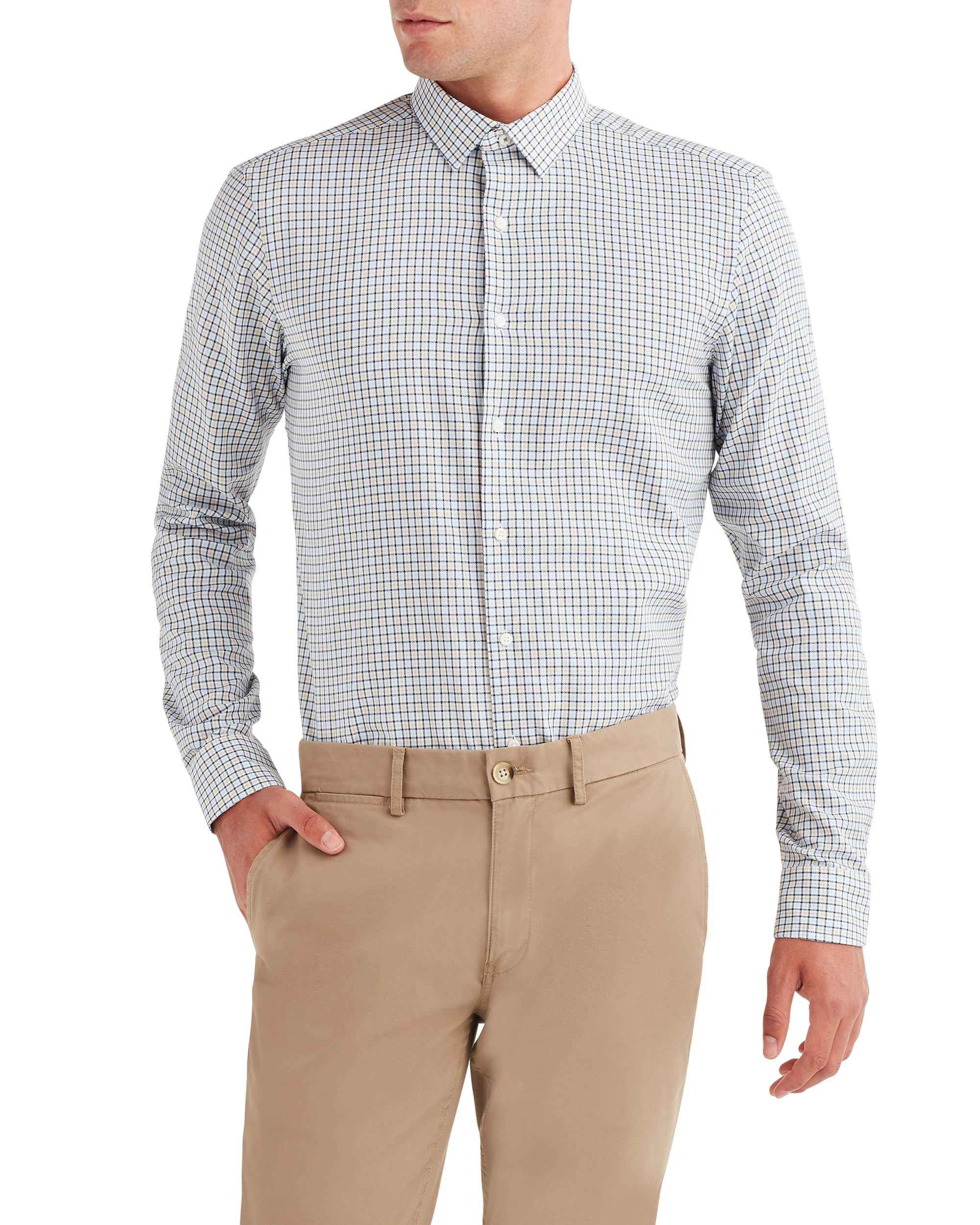 Herringbone Check Dress Shirt - Gold