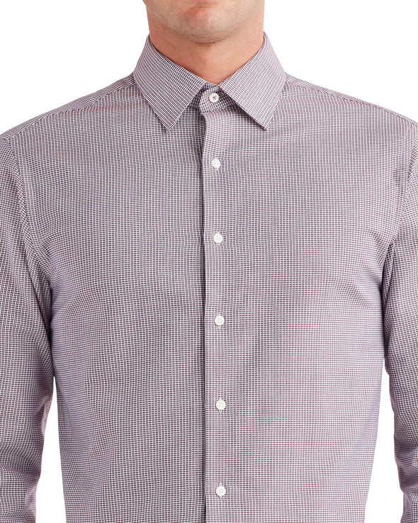 Puppytooth-Print Dress Shirt - Spice