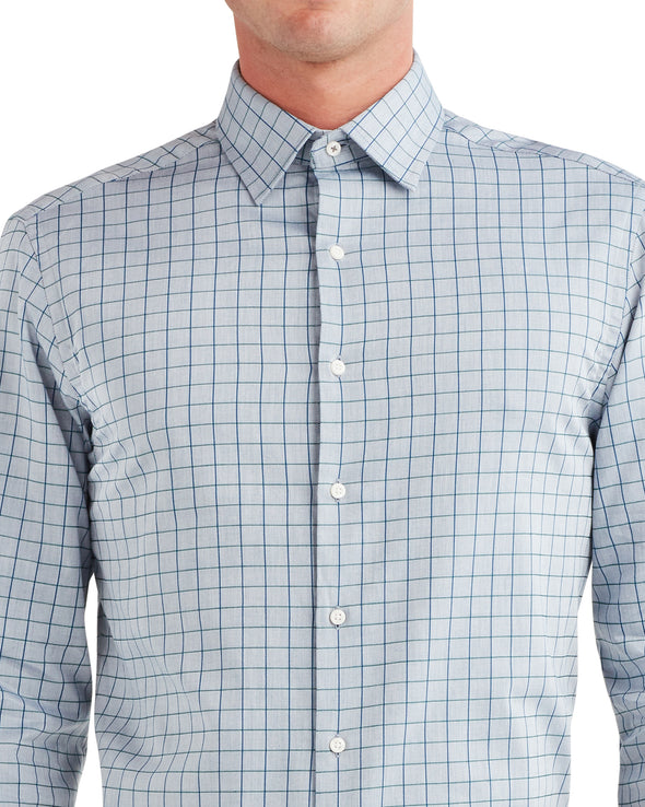 Twill Check Slim Fit Dress Shirt - Blue