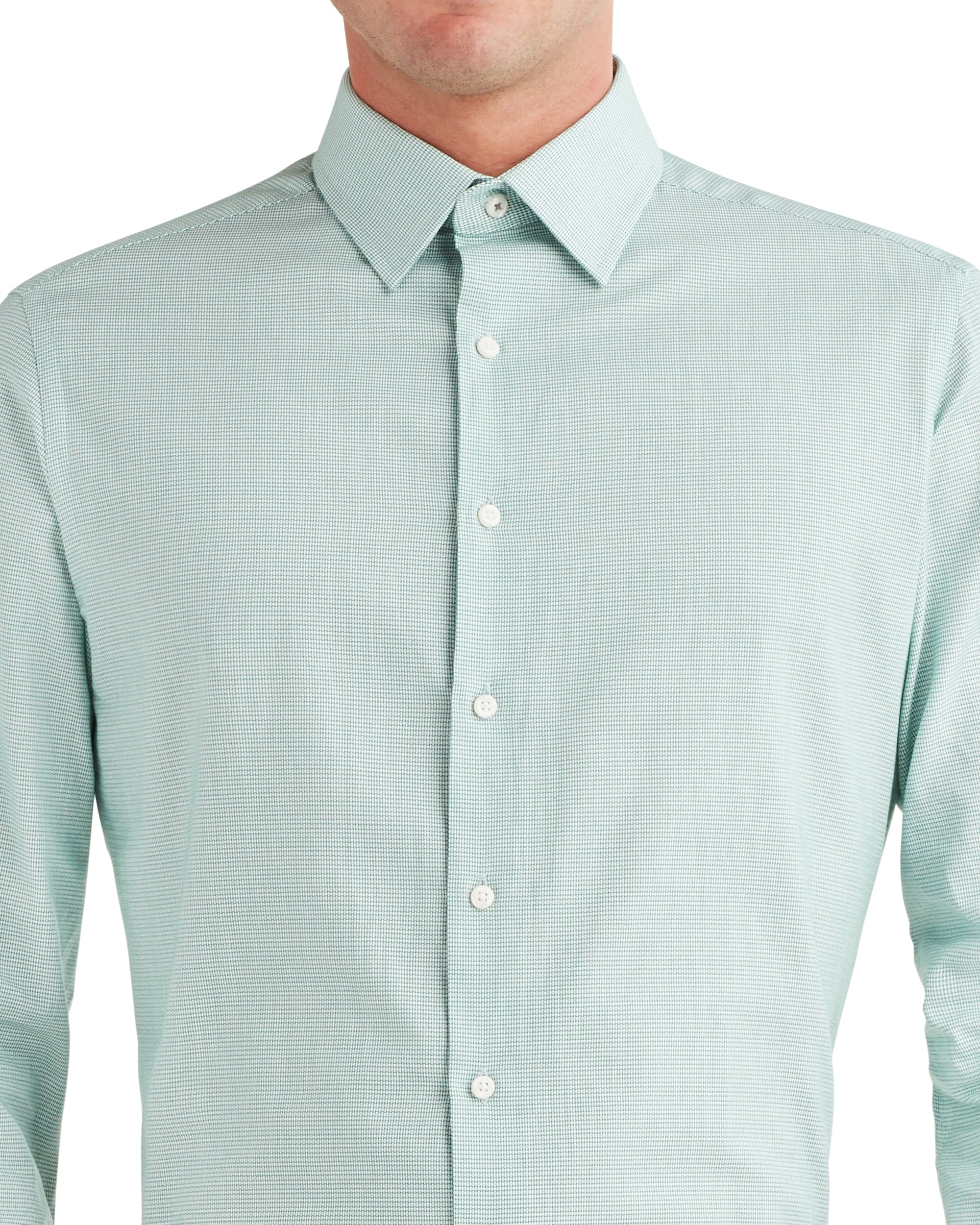Unsolid Dobby Slim Fit Dress Shirt - Green