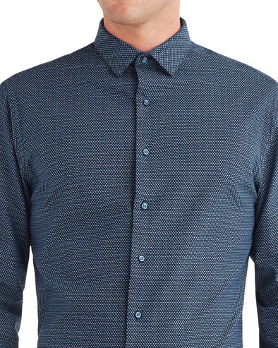 Dot Printed Oxford Slim Fit Dress Shirt - Navy