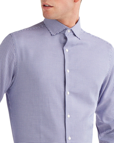 Houndstooth Slim Fit Dress Shirt - Purple