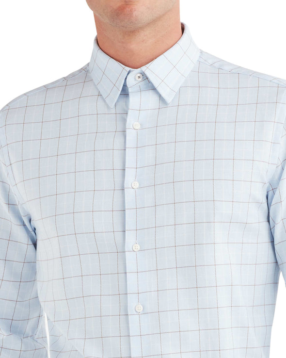 Twill Check Dress Shirt - Light Blue