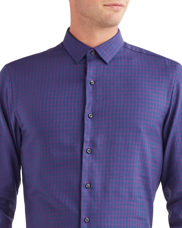 Twill Gingham Slim Fit Dress Shirt - Purple