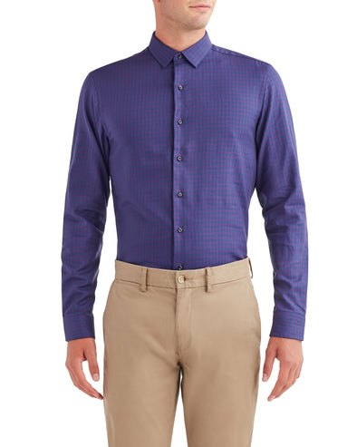 Twill Gingham Dress Shirt - Purple