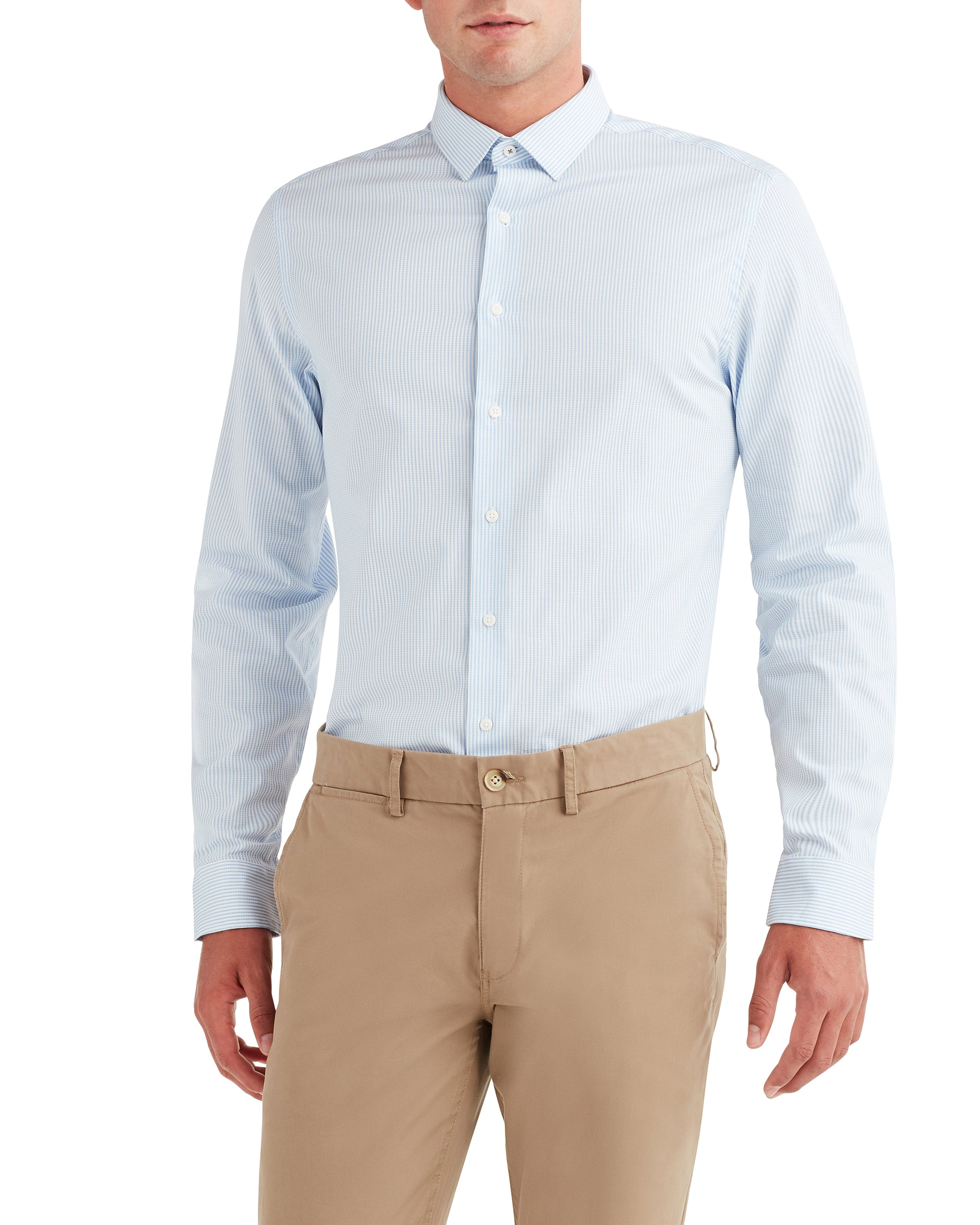 Dobby Stripe Slim Fit Dress Shirt - Light Blue