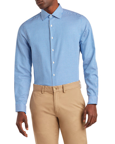 Herringbone Check Slim Fit Dress Shirt - Blue