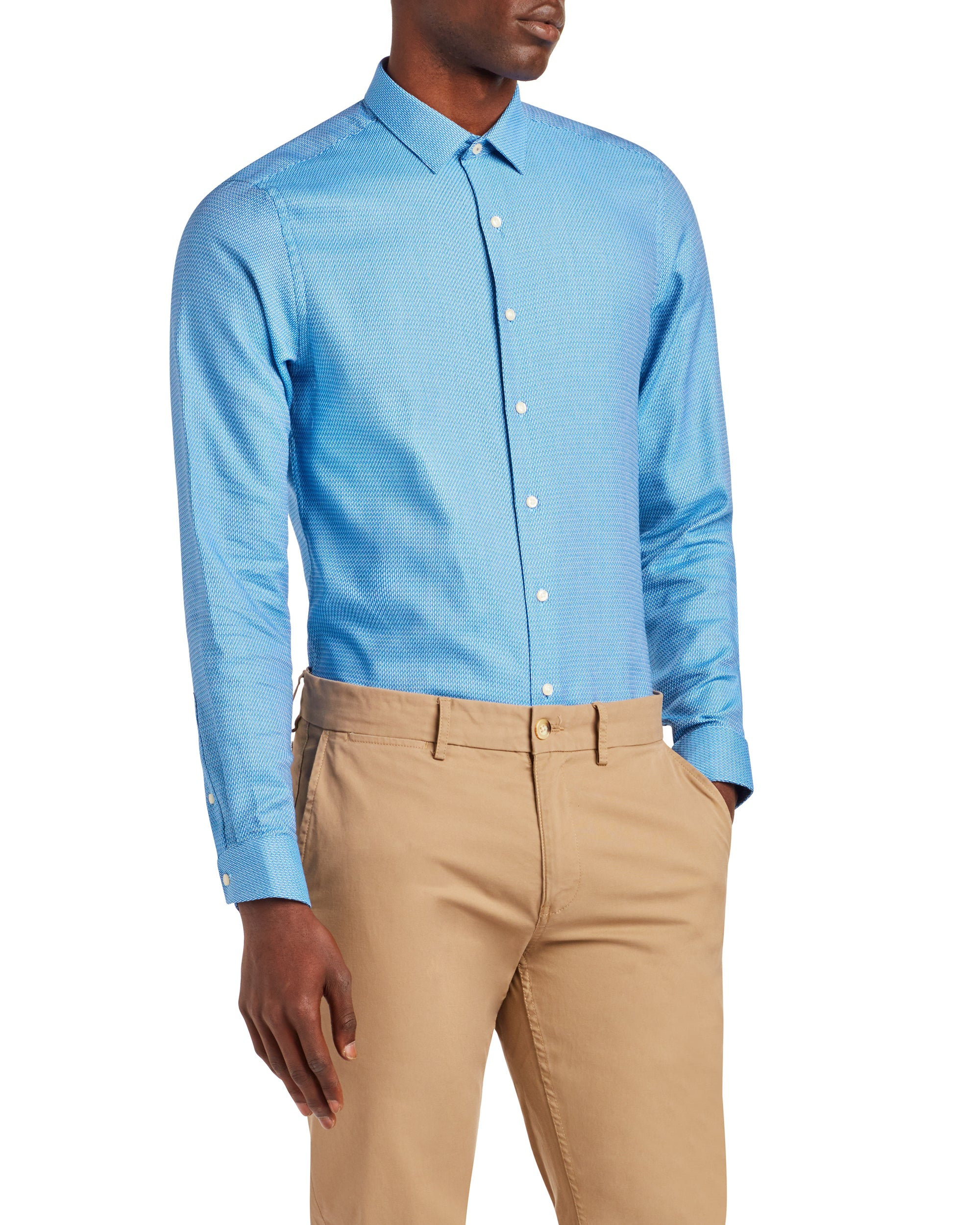 Textured Unsolid Solid Skinny Fit Dress Shirt - Blue