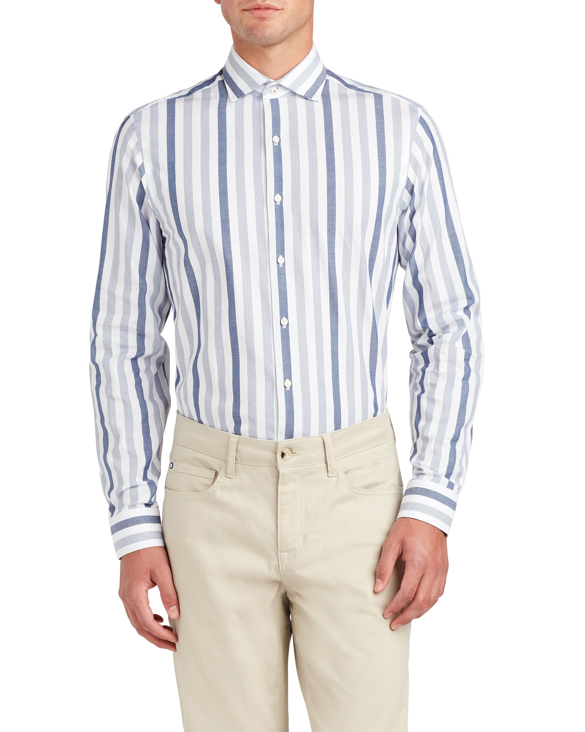 Wide Dobby Stripe Skinny Fit Dress Shirt - Blue
