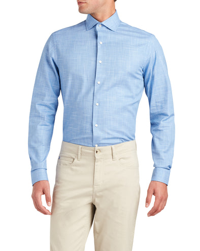 Slub End-on-End Slim Fit Dress Shirt - Royal