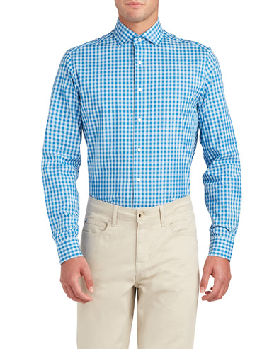 Dobby Diamond Gingham Slim Fit Dress Shirt - Teal