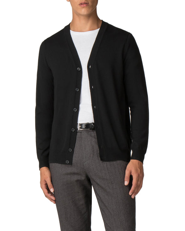Merino Cardigan Sweater - True Black
