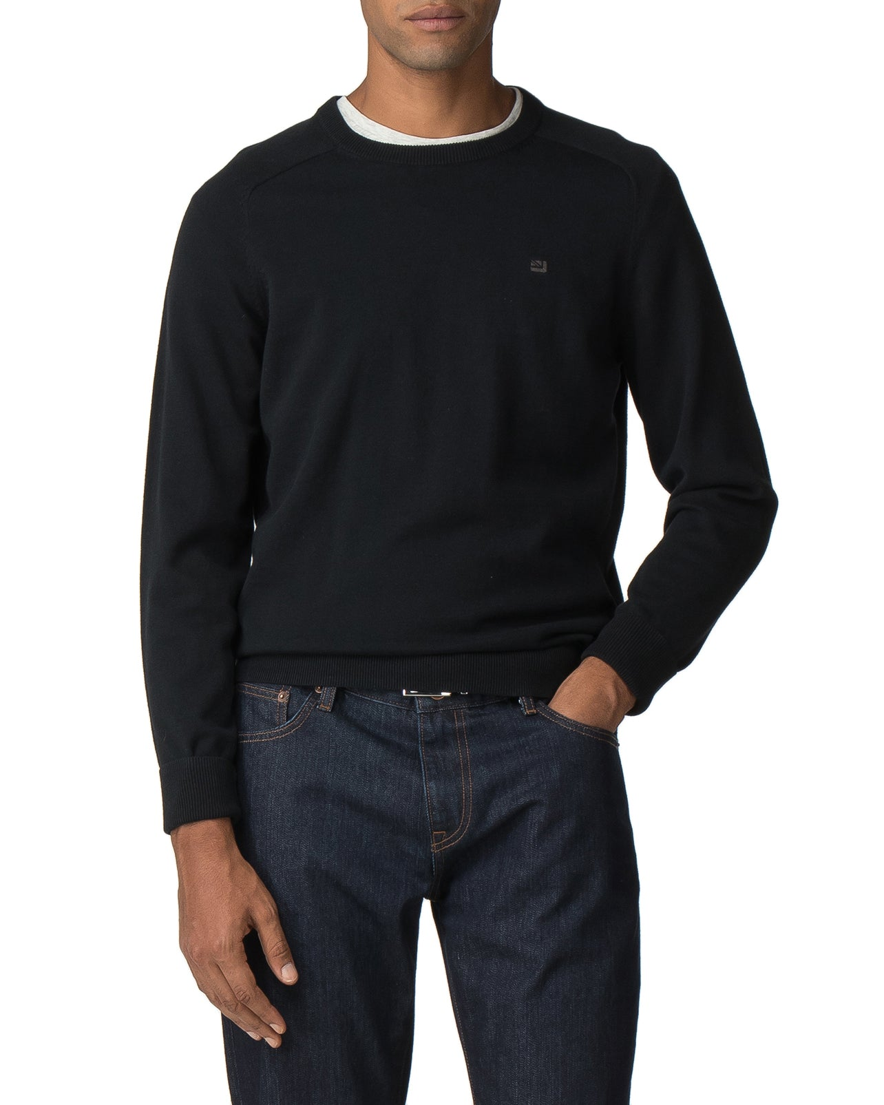 Raglan Sleeve Crewneck Sweater - True Black