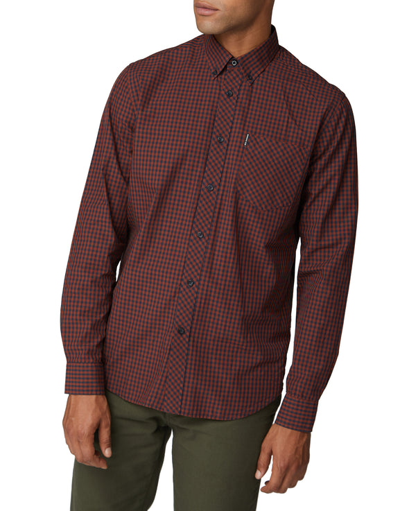 Long-Sleeve Core Gingham Shirt - Brown